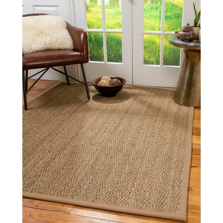 Beach Natural (Natural Area Rugs  100%, Natural Fiber Handmade Beach, Natural Seagrass Rug, Wheat Border - 2' 6