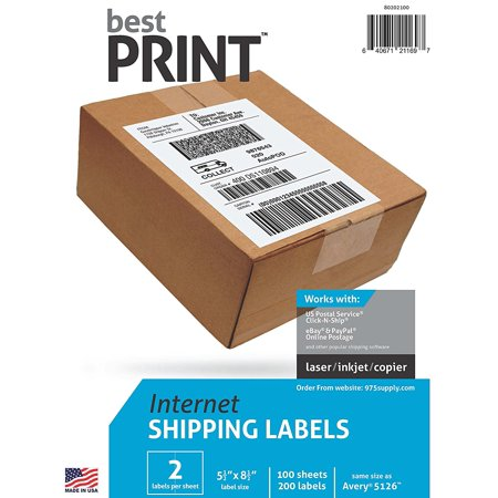 Best Print Internet Shipping Labels #80202100 100 Sheets 2 Labels Per Sheet