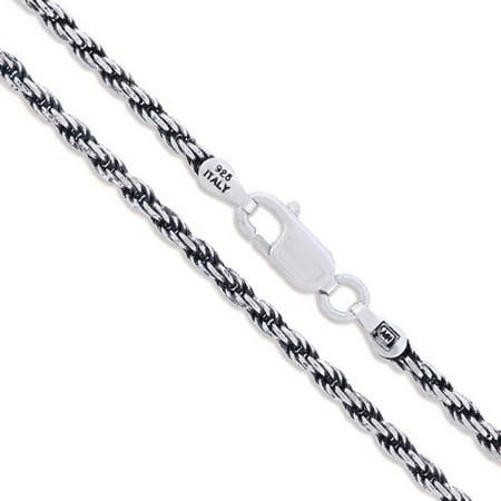 Oxidized Silver Jewellery - Sterling Silver Diamond-Cut Oxidized Rope Chain 2.3mm 925 Antiqued Necklace 16