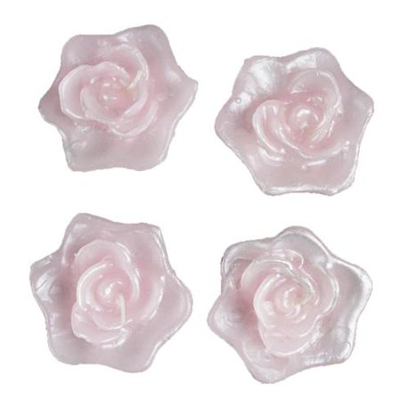 BalsaCircle 4 pcs 2.5-Inch Roses Flowers Floating Candles for Wedding Party Birthday Centerpieces Home Decorations Supplies (White Rose Floating Candles)