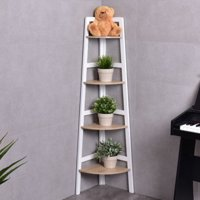 Product Image Costway 4 Tier Wood Corner Bookcase Ladder Shelf Wall Unit Bookshelf Display Stand Rack