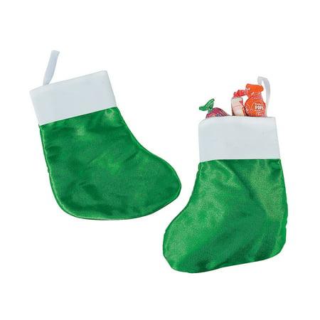 Fun Express - Green Satin Stockings for Christmas - Craft Supplies - Bulk Craft Accessories - Misc Bulk Craft Accessories - Christmas - 12 Pieces ()