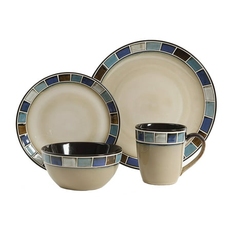 Gibson Elite 114339.16R Casa Azul 16 Piece Reactive Glaze Dinnerware Set, Cream and Blue