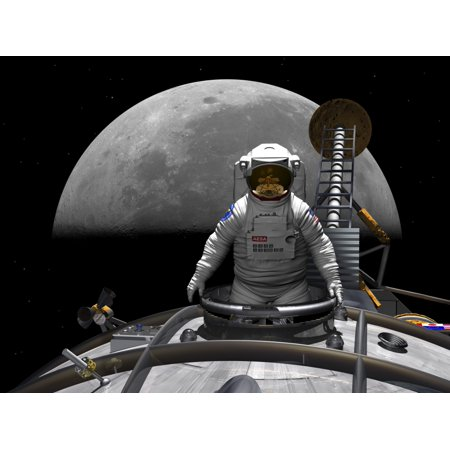 An astronaut takes a last look at Earth before entering orbit around the moon Canvas Art - Walter MyersStocktrek Images (17 x (Limp Bizkit Take A Look Around Live)