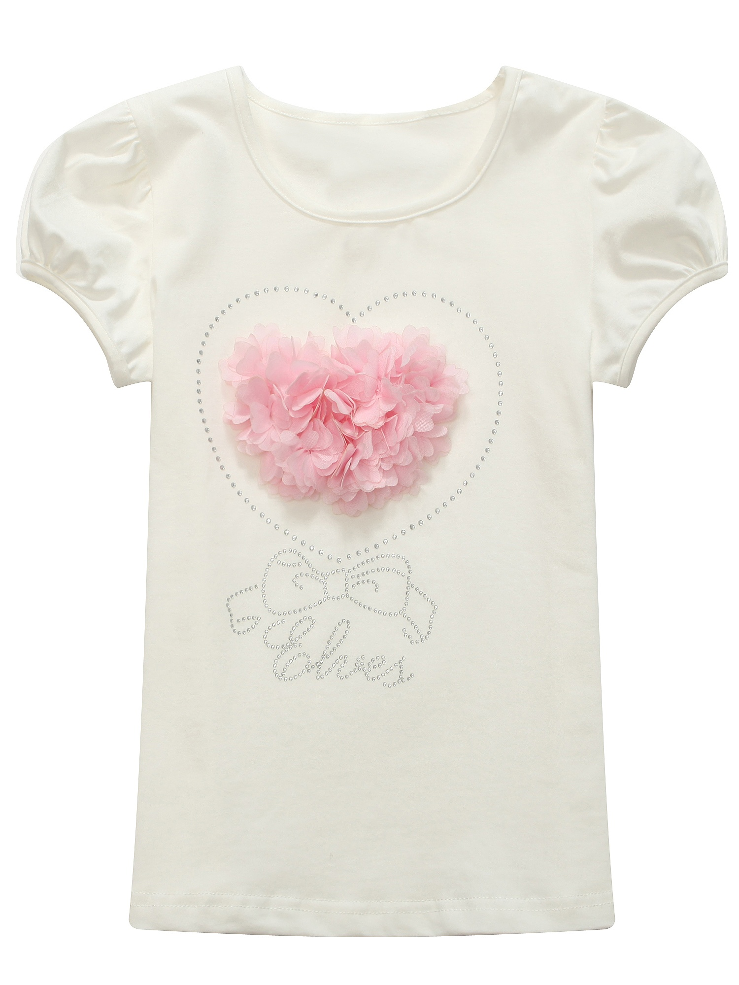 Richie House Girls' 'Elves' Top with Ruffle and Heart RH0906
