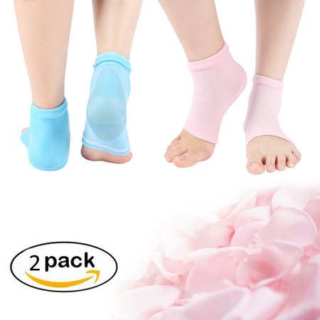 43e60549a Itopboutique 2 Pairs Moisturizing Silicone Gel Heel Socks for Dry Hard  Cracked Skin Open Toe Comfy