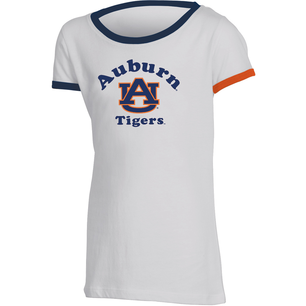 Girls Youth Russell White Auburn Tigers Ringer T-Shirt