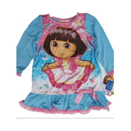 Little Girls Sky Blue Dora The Explorer Print Sleep Dress - The Explorer Girls