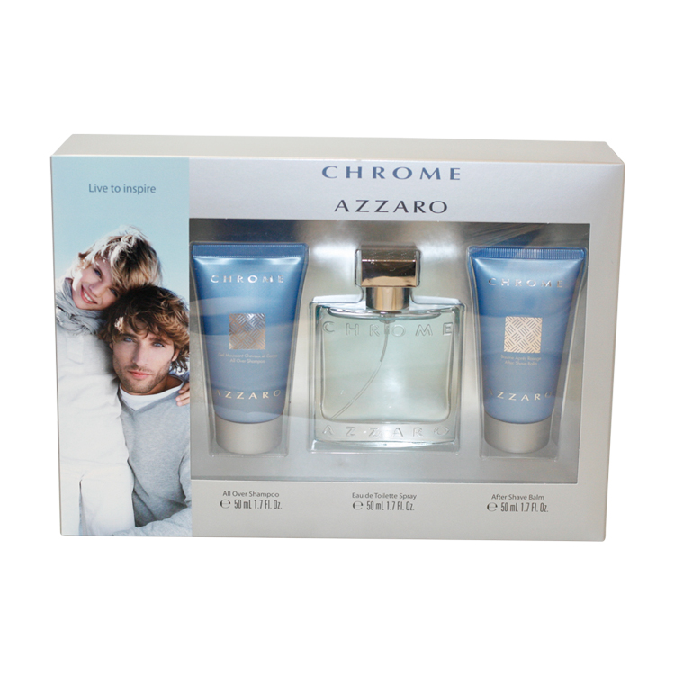 Chrome 3 Pc. Gift Set ( Eau De Toilette Spray 1.7 Oz + Aftershave Balm 1.7 Oz + All Over Shampoo 1.7 Oz )