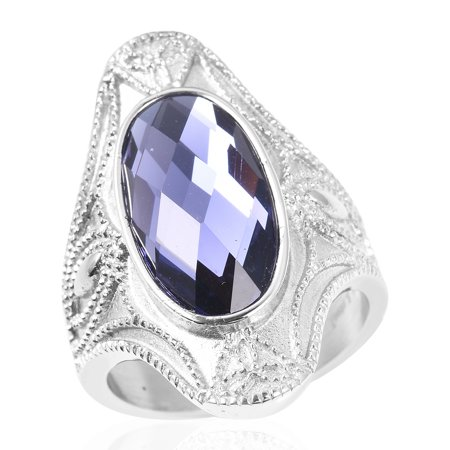 Cocktail Ring Stainless Steel Oval Purple Glass Gift Jewelry for Women ()