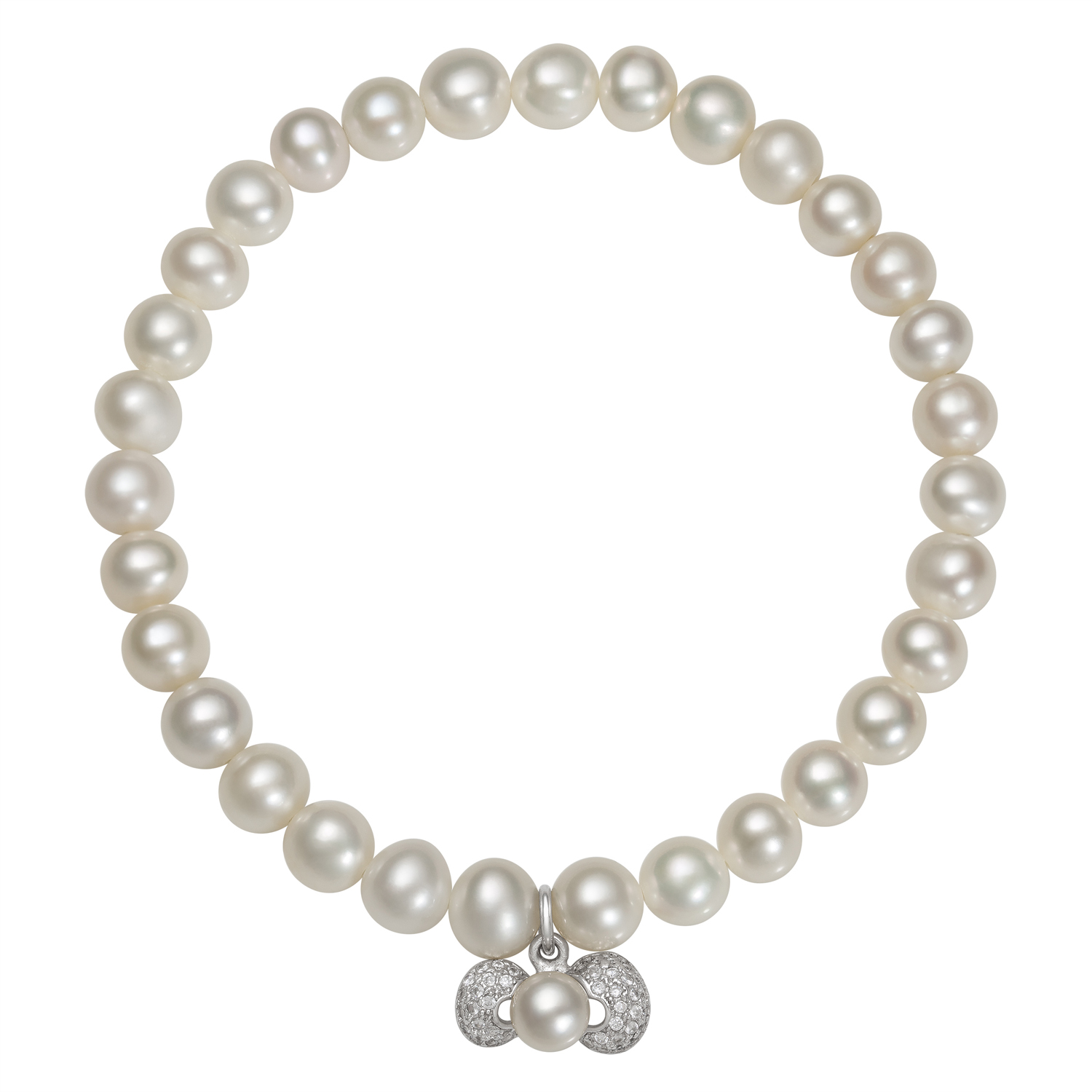 7-8mm White Cultured Freshwater Pearl and Cubic Zirconia Encrusted Bow Charm Stretch Bracelet, 7.5