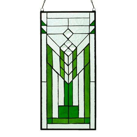 23 Mission Style Stained Glass (River of Goods Stained Glass Mission Green and Clear Window)