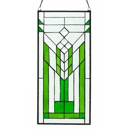 River of Goods Stained Glass Mission Green and Clear Window Panel Bass Stained Glass Window