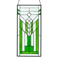 River of Goods Stained Glass Mission Green and Clear Window Panel