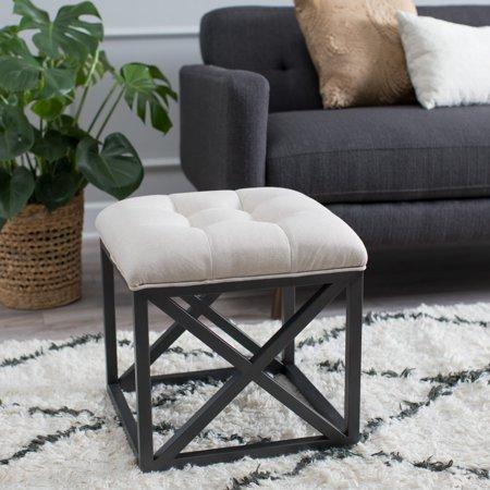 Belham Living Grayson Tufted Cube Ottoman - Linen