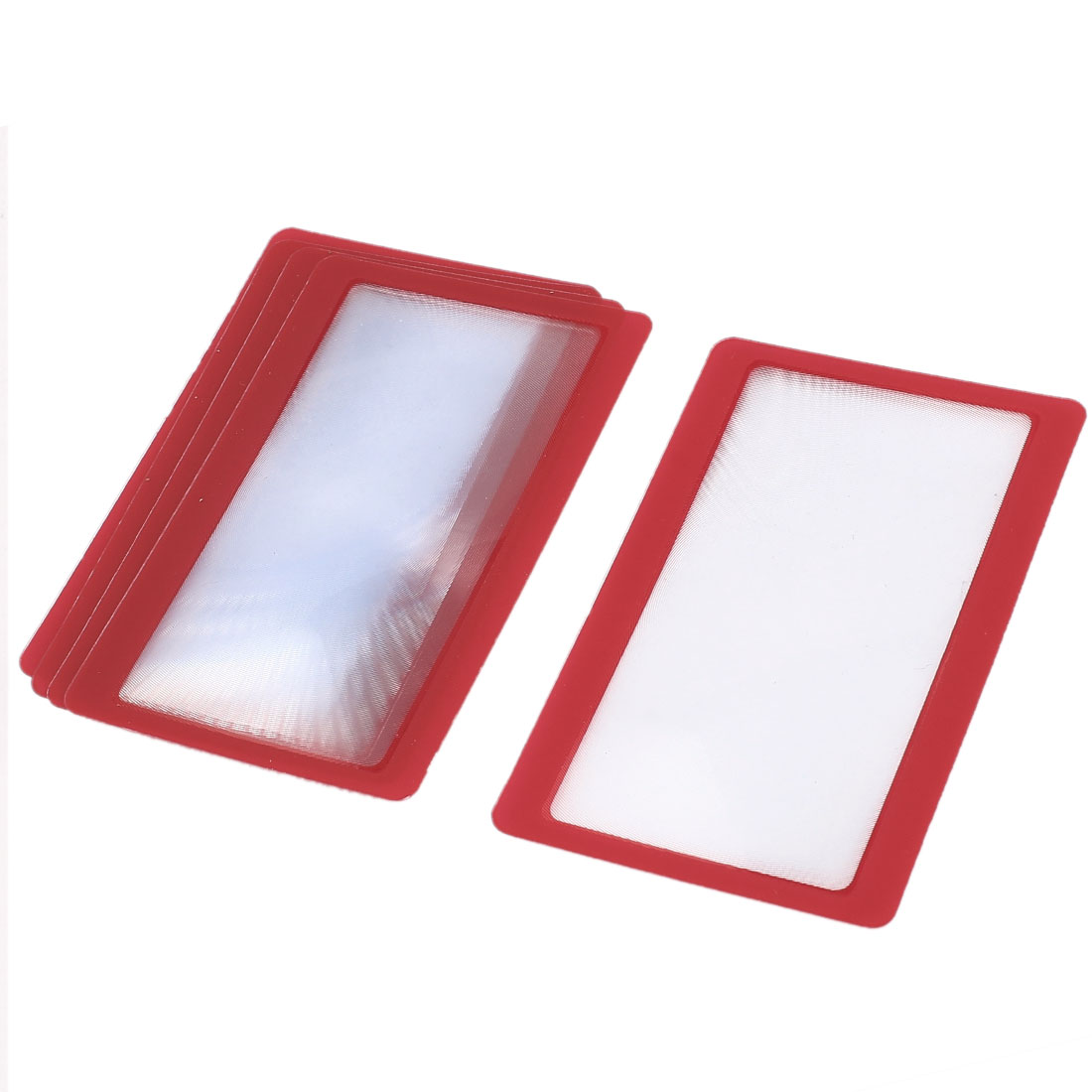 Unique Bargains 5 Pieces Red Frame Credit Card Reading Magnifier 3x Magnifying Wallet Loupe Lens