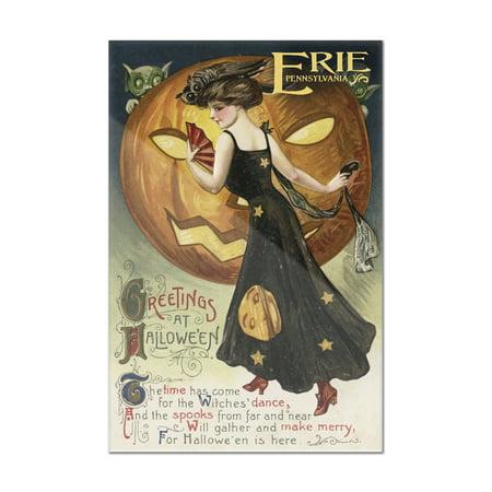 Halloween Pumpkin Artwork (Erie, Pennsylvania - Halloween Greeting - Witch Dancing and Pumpkin - Vintage Artwork (8x12 Acrylic Wall Art Gallery)