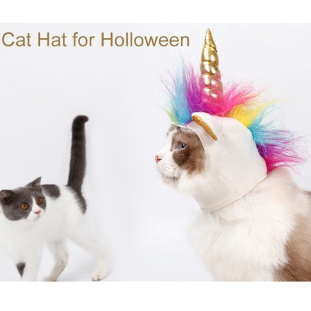 Halloween Hats For Cats (Halloween Pet Puppy Unicorn Hat, Small Dogs Cats Accessory Adjustabale Cosplay Mane Cap for)