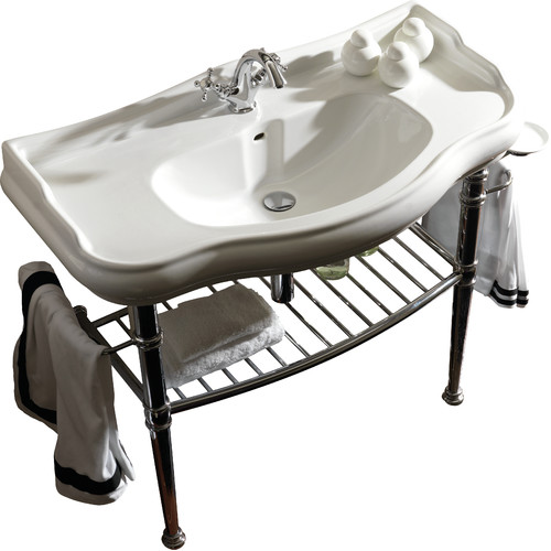 WS Bath Retro Ceramic 33.7'' Console Sink with Overflow