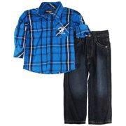 BHPC Little Boys' Plaid Long Sleeve Roll Up Shirt 2Pc Pant Set