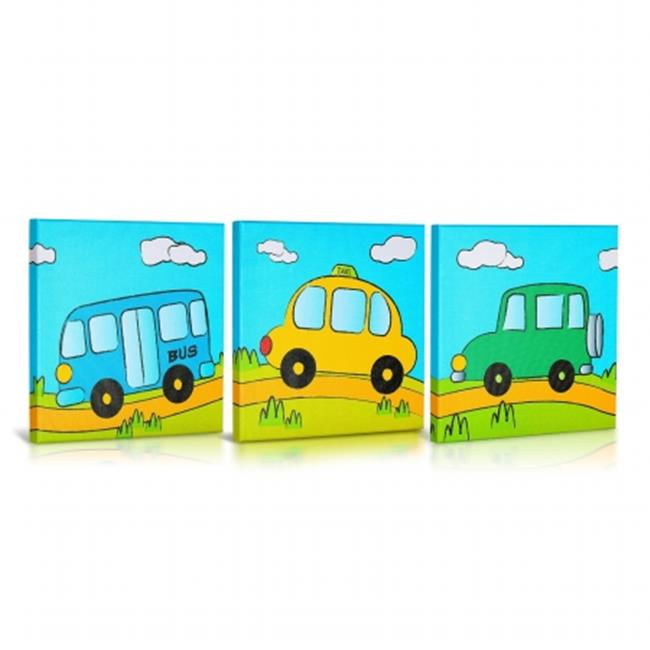 Green Fog GF0003 Lets Drive Canvas Gallery Wrapped Art - 3Pc. Set