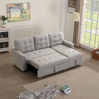 URHOMEPRO Sectional Sofa Sleeper with Reversible Chaise, Modern Convertible Sofa Bed, Premium Linen Fabric Living Room Couches and Sofas with Storage, Wheels, Living Room Furniture for Home, Q13712