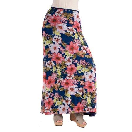 5f64a5c802 24seven Comfort Apparel - 24seven Comfort Apparel Sheer Floral Maternity  Maxi Skirt - Walmart.com