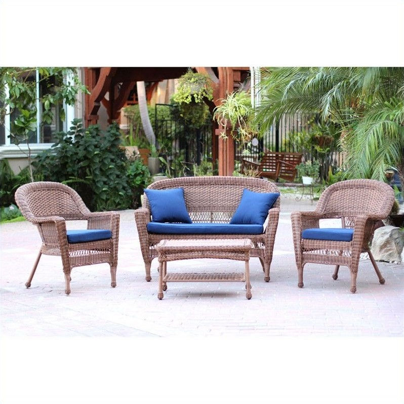 Jeco 4pc Wicker Conversation Set in Honey with Navy Blue Cushions
