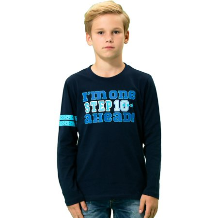 Leo&Lily Boys' Long Sleeve Crew-Neck Pullover T-Shirt Navy