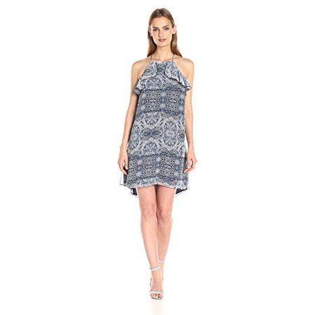 BCBGeneration Women's Printed Halter Dress with Ruffle, Dark Wave Combo, X-Small (Adidas Women Petite)