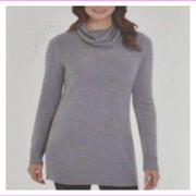 Adrienne Vittadini Women's Cowl Neck Longer Sweater L/Steel Heather