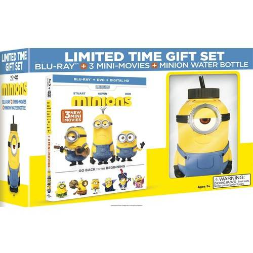 Minions (Blu-ray + DVD + Digital HD + Minion Water Bottle) (Walmart Exclusive) (With INSTAWATCH)