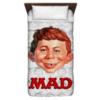 Mad Alfred Head Twin Duvet Cover White 68X88