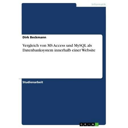 Vergleich von MS Access und MySQL als Datenbanksystem innerhalb einer Website - eBook (Vox Access)