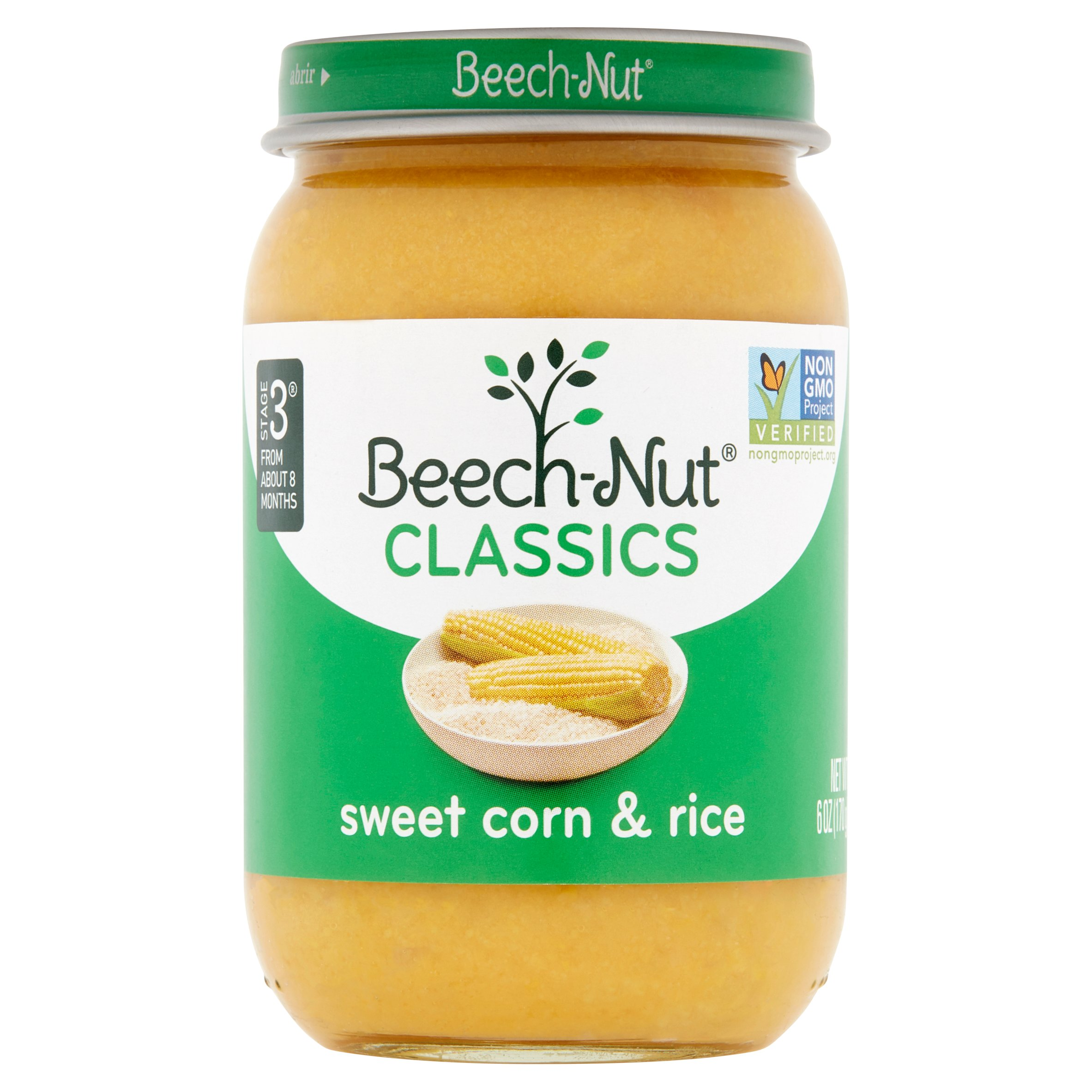 Beech-Nut Classics Sweet Corn & Rice Baby Food Stage 3 From About 8 Months, 6 oz, 10 count