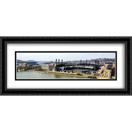 PNC Park 2x Matted 40x18 Large Black Ornate Framed Art Print from the Stadium (Pnc Park Framed)