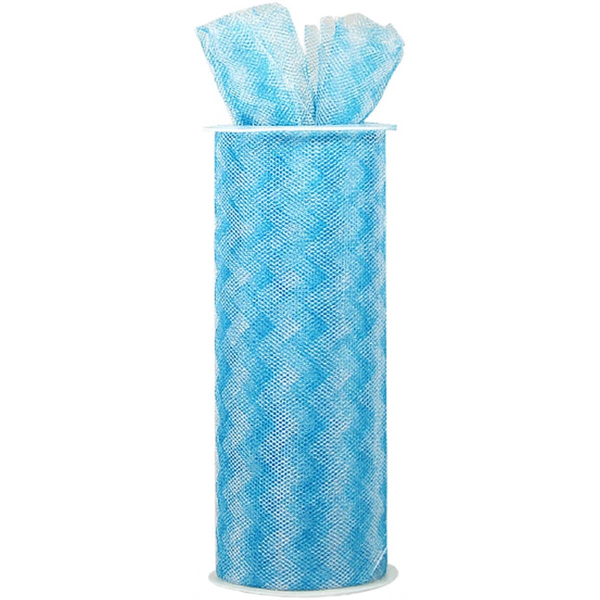 """Chevron Zig Zag Printed Tulle 6"""" Wide 10yd Spool-Turquoise"""