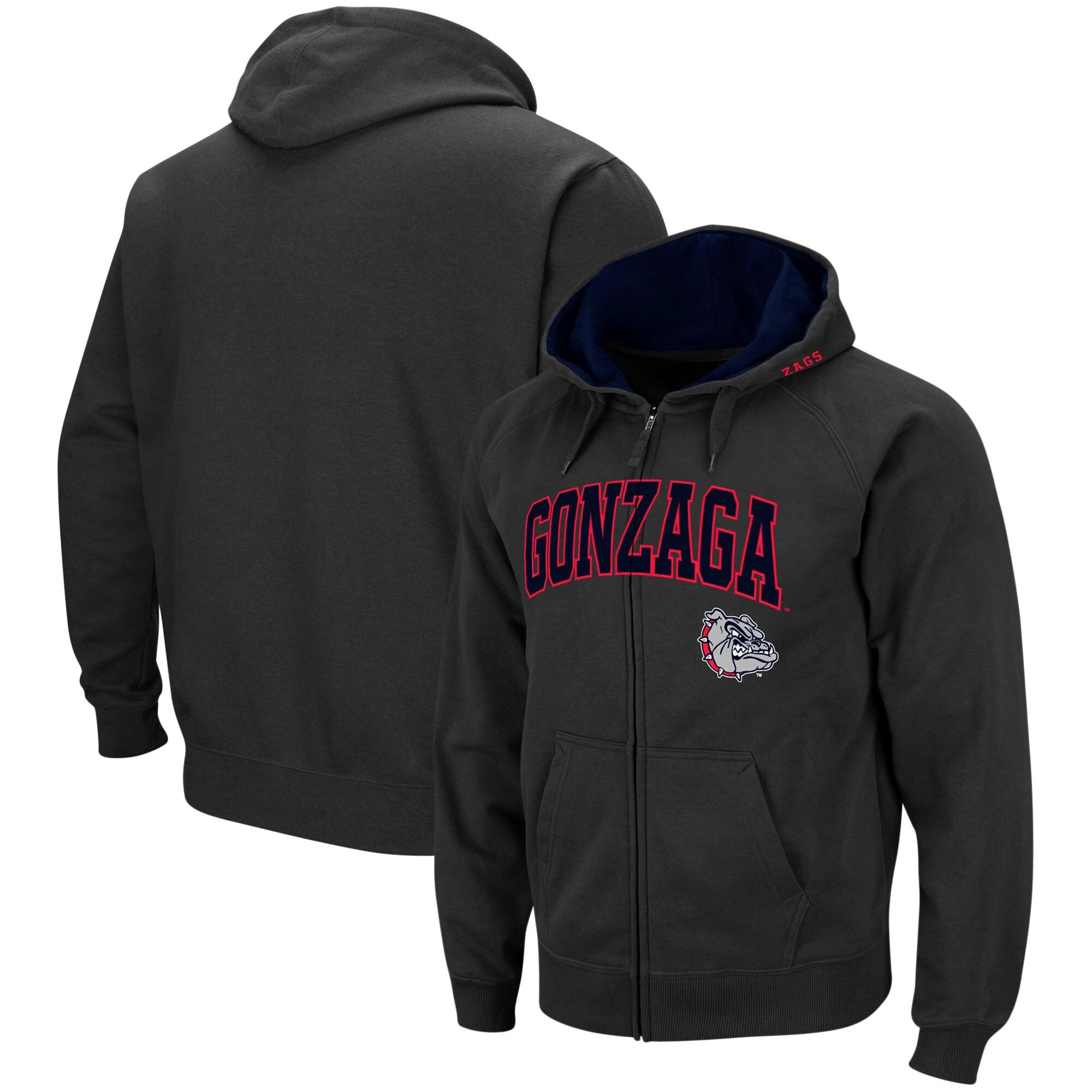 X-Large Elite Fan Shop NCAA Gonzaga Bulldogs Male Long Sleeve Shirt Dark Heather Arch Gray