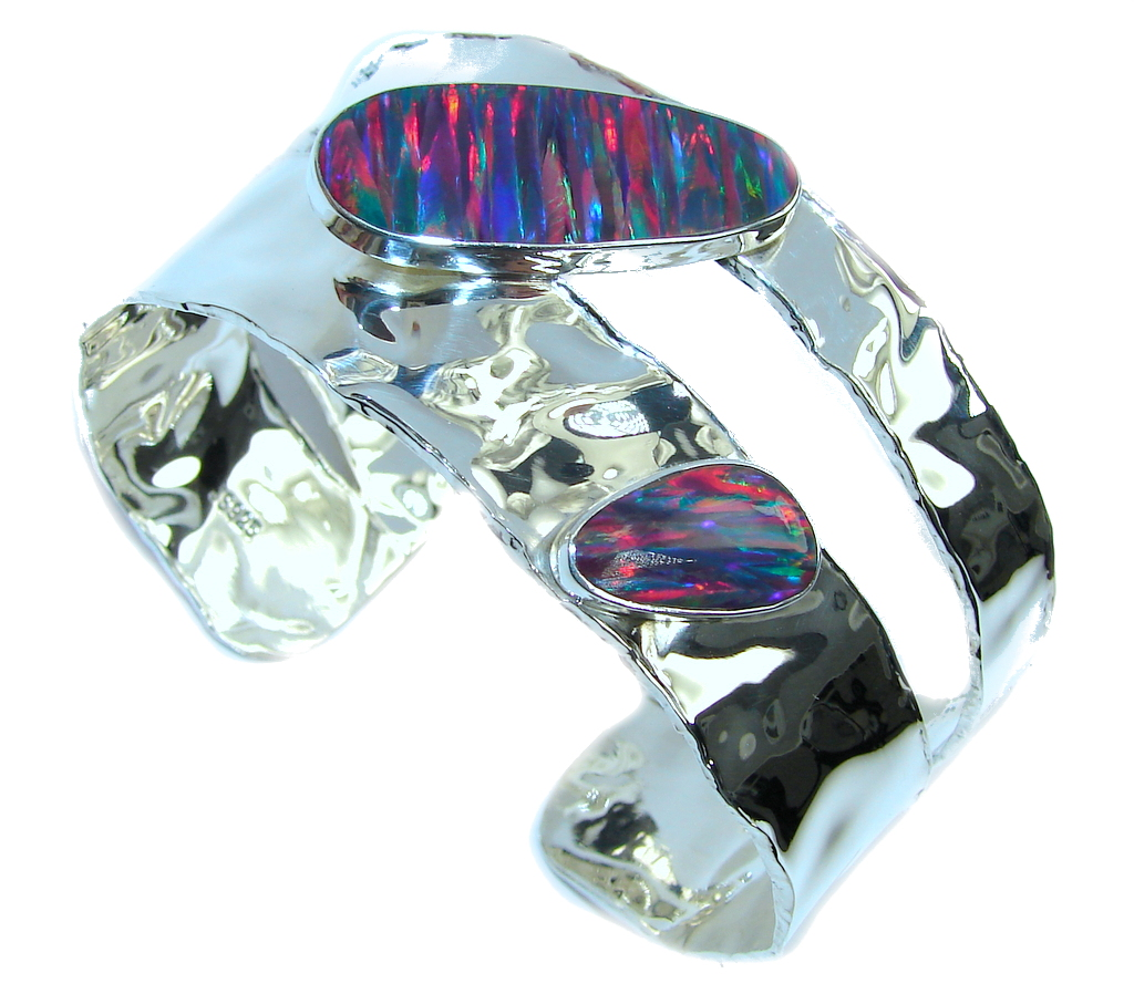 Touch Of Life! Japanese Fire Opal Sterling Silver Bracelet   Cuff by SilverRush Style by