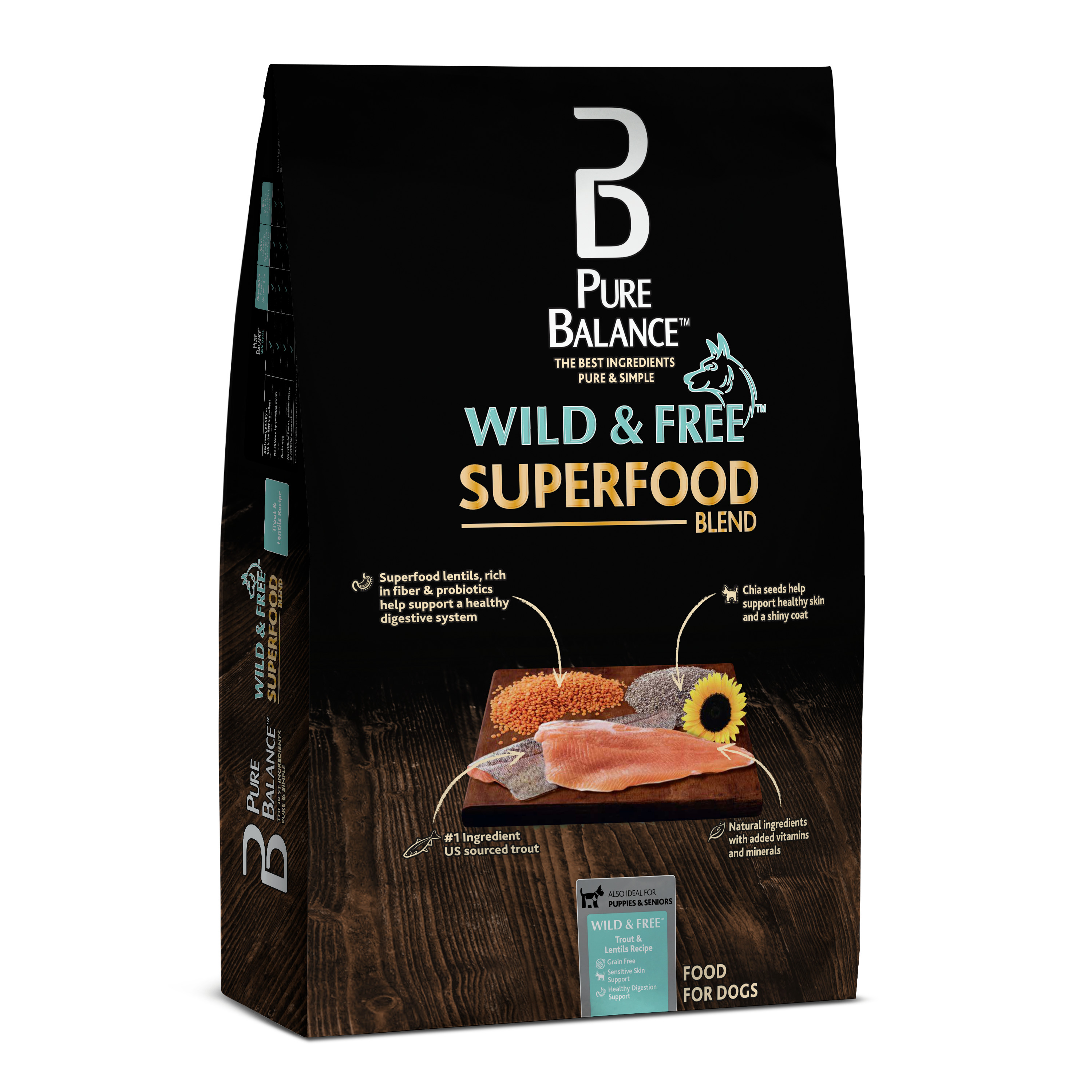 Pure Balance Wild & Free Superfood Blend Trout & Lentil Recipe Dry Dog Food, 4 lb