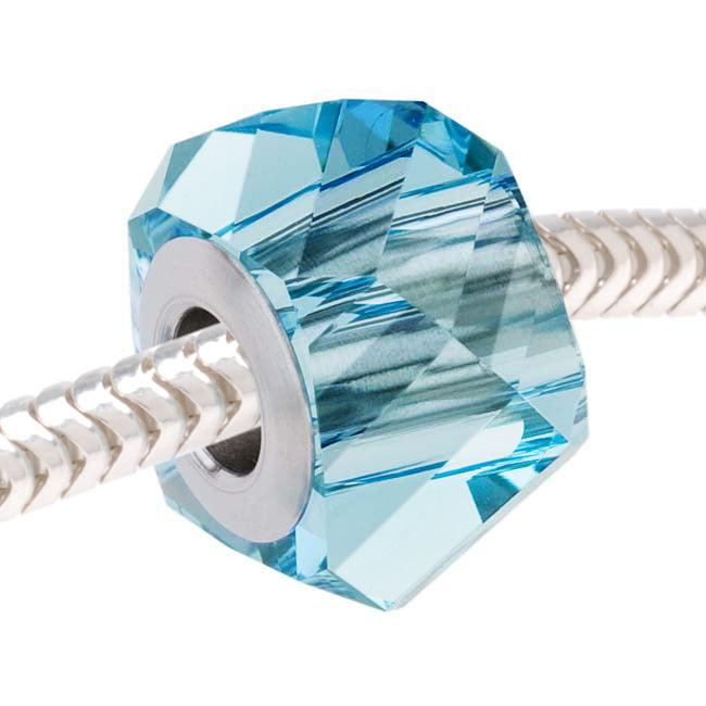 Swarovski Crystal, #5928 BeCharmed Helix European Style Lg Hole Bead 14mm, 1 Pc, Aquamarine