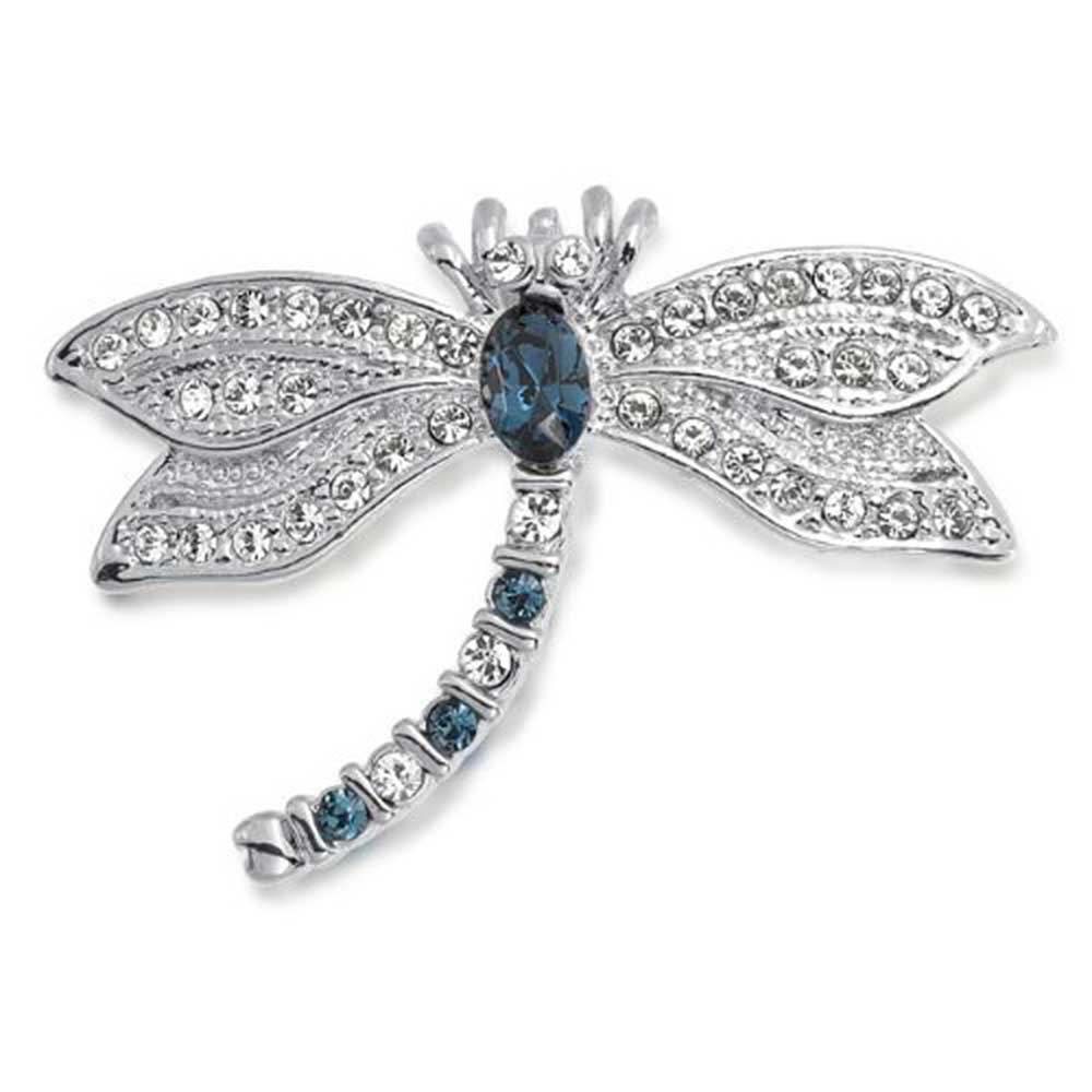 Blue Simulated Sapphire Cubic Zirconia Dragonfly Brooch Rhodium Plated by Bling Jewelry