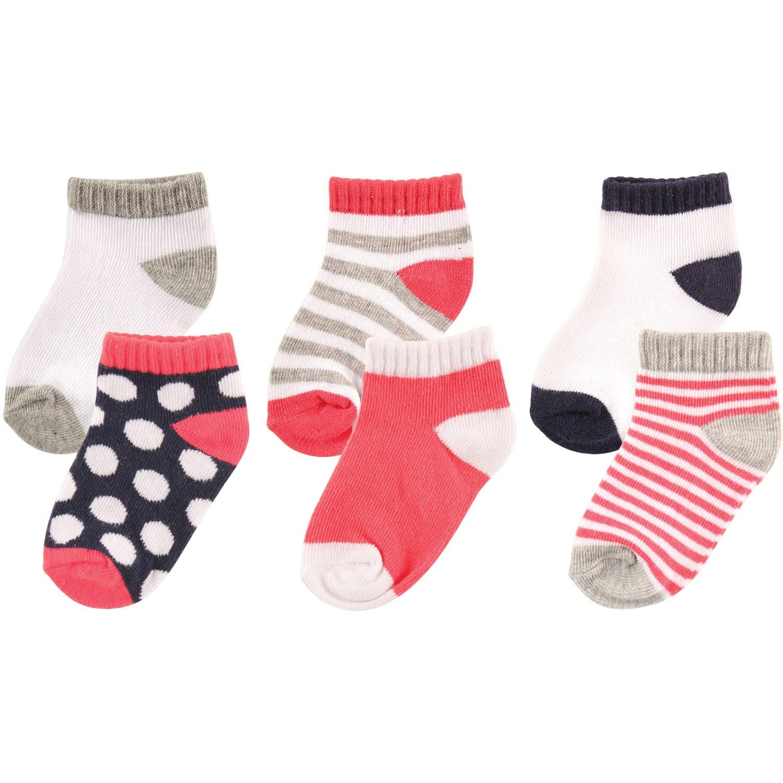 Luvable Friends Newborn Baby Girls No Show Socks 6-Pack