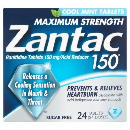 Zantac 150 Cool Mint Maximum Strength Ranitidine Acid Reducer Tablets, 24ct