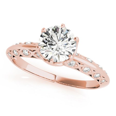 0.75 Ct. Ttw Halo Diamond Engagement Ring 14K Rose Gold