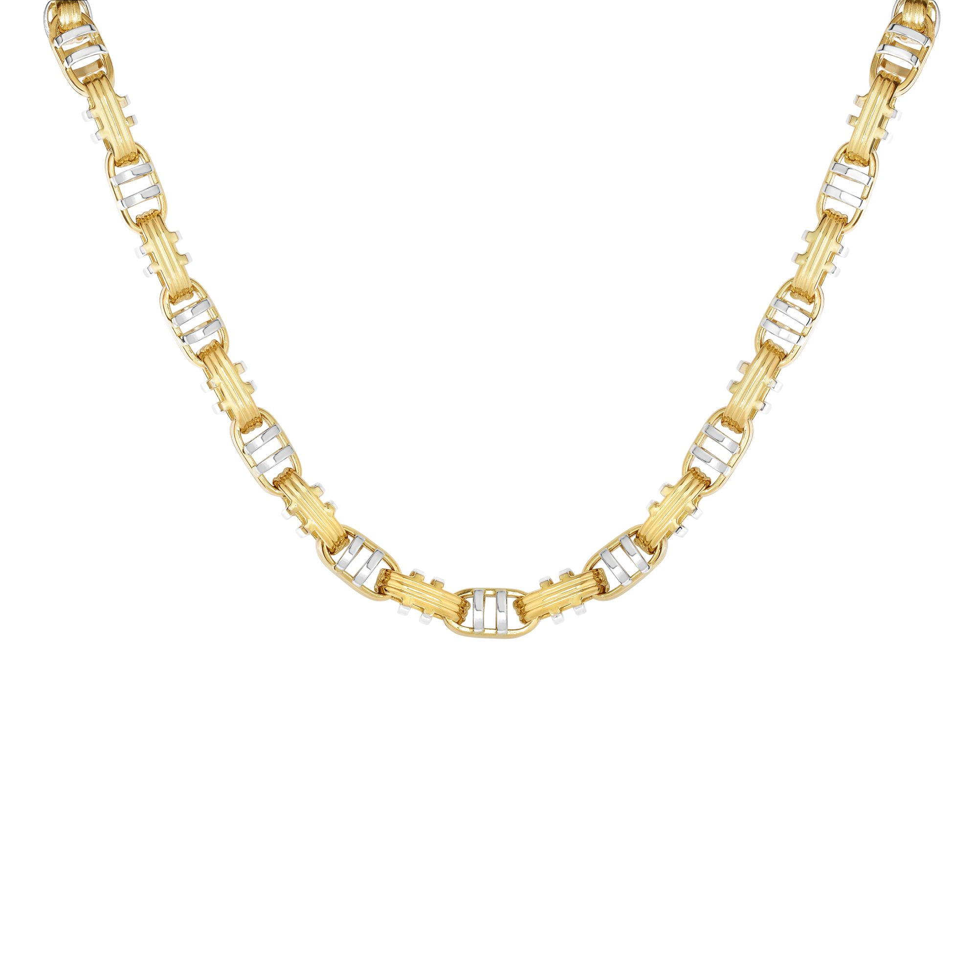 14K Yellow-White Gold Shiny+Ridged Fancy Double Bar Mariner Style Link Necklace with Lobster Clasp by Goldia