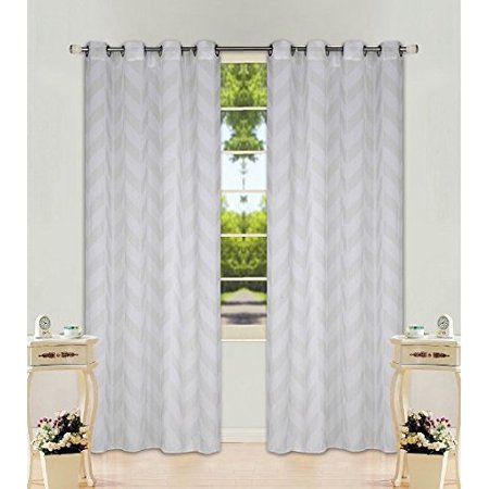 "1 Panel Chevron Ivory  Two-Tone Pattern Design Voile Sheer Window Curtain 8 Silver Grommets 55"" W X 84"""