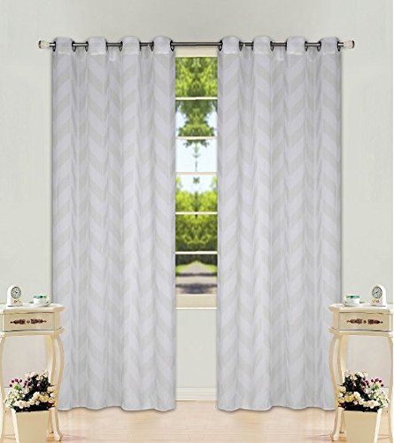 "2 Panel Chevron Ivory  Two-Tone Pattern Design Voile Sheer Window Curtain 8 Silver Grommets 55"" W X 63"""