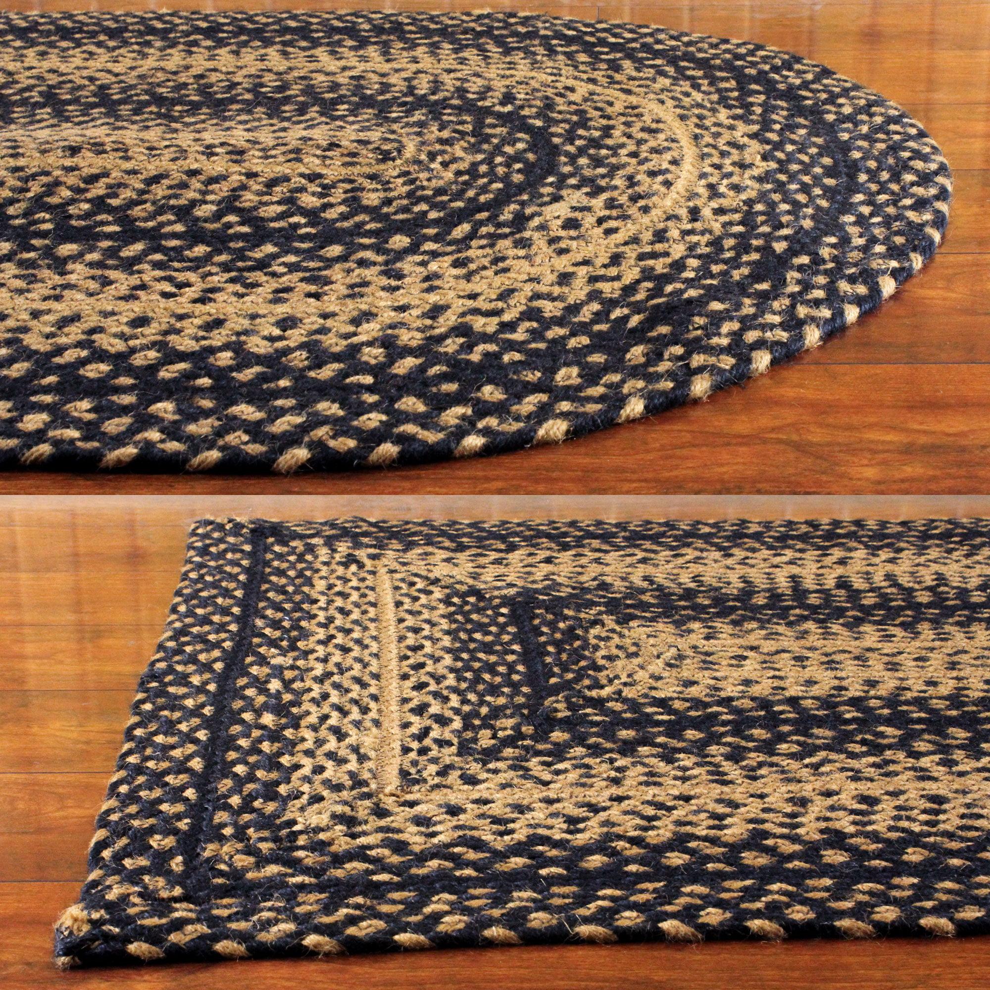 Tan Rectangle Braided Area Rug