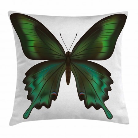 Swallowtail Butterfly Throw Pillow Cushion Cover, Realistic Exotic Wildlife Creature in Green Tones, Decorative Square Accent Pillow Case, 18 X 18 Inches, Olive Green Jade Green Black, by Ambesonne Swallowtail Life Cycle